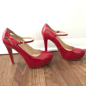 Cherry red pumps